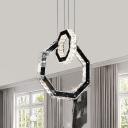 Geometric Pendant Lighting Fixture Simple Style Crystal LED Black Hanging Ceiling Light