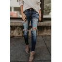 Ladies' Trendy Street Mid Rise Distressed Frayed Trim Ankle Skinny Jeans in Dark Blue