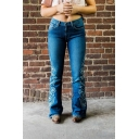 Casual Women's Mid Rise Floral Printed Full Length Slim Fit Flared Jeans in Dark Blue