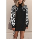 New Fashion Leopard Printed Long Sleeve Loose Fit Black and White Tunic Pullover Sweatshirt