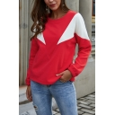 Womens Simple Color Block Geo Printed Long Sleeve Loose Fit Pullover Sweatshirt