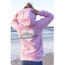 Womens Simple Letter MISS PROVOCATEUR Printed Long Sleeve Slim Fit Pink Casual Hoodie