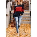 Womens Casual Colorblocked Long Sleeve Crew Neck Pullover Sweatshirt