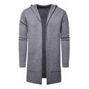 Mens Simple Solid Color Long Sleeve Open Front Casual Relaxed Longline Hooded Cardigan Coat