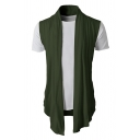 Mens Simple Plain Sleeveless Open Front Draped Casual Knitted Cardigan Vest