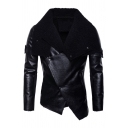 Mens Punk Solid Color Black Faux Fur Lapel Collar Long Sleeve Slim Fit Asymmetric PU Moto Jacket