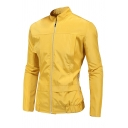Plain Casual Stand Up Collar Long Sleeve Full Zip Slim Fit Outdoor Track Jacket for Men