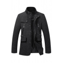 Mens Plain Casual Snap Button Front High Collar Black Textured Short Woolen Coat