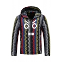 Mens Casual Geometric Cartoon Face Printed Long Sleeve Zip Up Colorblocked Zigzag Track Jacket with Hood