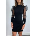 Womens Fashionable Plain Mesh Panelled Puff Long Sleeve Mock Neck Mini Fitted Party Dress