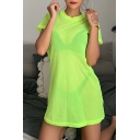 Womens Casual Sexy Loose Short Sleeve Round Neck Plain Sheer Fishnet Mini T-Shirt Dress
