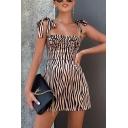 Womens Chic Light Khaki Zebra Stripes Printed Tied Strap Mini A-Line Slip Dress