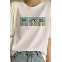 Womens Funny Dogs Shiba Inu Printed Round Neck Short Sleeve White Casual T-Shirt