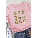 Womens Cute Avocado Spoof Printed Rolled Short Sleeve Loose T-Shirt