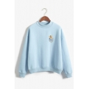 Cute Pocket Cat Printed Mock Neck Long Sleeve Oversized Pullover Sweatshirt