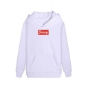 Funny Letter SHEEP Printed Long Sleeve Pouch Pocket Regular Drawstring Hoodie