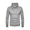 Mens Designer Zipper Patch Shawl Collar Long Sleeve Plain Fitted Knitted Pullover Sweater