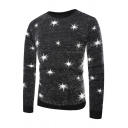 Mens Casual Glitter Stars Printed Long Sleeve Black Knitted Pullover Sweater