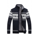 Mens Vintage Floral Printed Long Sleeve High Collar Zip Placket Casual Knit Jacket Thick Cardigan