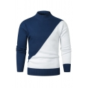 Mens Simple Two-Tone Mock Neck Long Sleeve Fitted Slim Cozy Knit Pullover Sweater