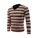 Mens Leisure Contrast Stripes Printed V-Neck Long Sleeve Pullover Knit Sweater
