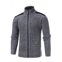 Mens Winter Popular Color Block Elbow Patch Long Sleeve Zip Up Thick Jacket Cardigan