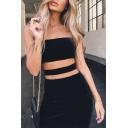 Womens Sexy Plain Black Hollow Out Waist Mini Fitted Strap Dress for Night Club
