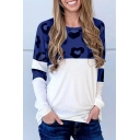 Womens Casual Leopard Panel Round Neck Long Sleeves Loose Fit T-Shirt Top