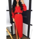Edgy Womens Chic Solid Color V-Neck Long Sleeve High Split Maxi Party Dress
