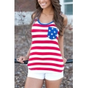 Womens Active Red Striped Stars Printed Sleeveless Fitted Tank Top