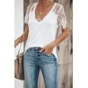 Womens Trendy Plain Eyelash Lace Trimmed Short Sleeve V-Neck Slim Fit Leisure T-Shirt