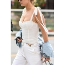 Womens Unique Plain White Tied Ribbon Straps Stringy Selvedge Trim Fitted Sweetheart Tank