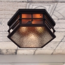 Hexagon Shaped Flushmount Lamp Vintage Metal and Frosted Glass 2/3 Lights Black Ceiling Lamp, 14