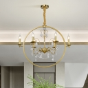 6/8-Head Circular Ceiling Pendant Colonial Style Golden Metallic Chandelier Light with Crystal Draping