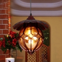 1 Light Globe Ceiling Lamp Farmhouse Copper Amber Glass Pendant Lighting Fixture for Dining Room with Scalloped Deco