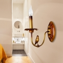 1 Bulb Candle Sconce Rustic Brass Metal Wall Mounted Light Fixture for Corridor, with/without Shade