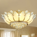 Chinese Style Lotus Ceiling Flush Mount Prismatic Glass 5 Lights Bedroom Ceiling Light Fixture in White with Crystal Finial