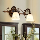 2/3/4 Lights White Glass Vanity Light Fixture Traditional Brown Bell Bathroom Make-Up Lighting
