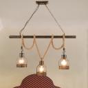 Black Global/Bottle Island Light Fixture Loft Style 3 Heads Metal and Rope Island Island Pendant Light for Restaurant