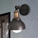 Domed Metallic Wall Mount Lighting Industrial Style 1 Light Adjustable Black Sconce Lamp for Restaurant
