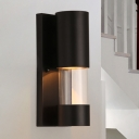 Industrial Style Cylinder Wall Sconce Light Metal and Clear Glass 1 Light Porch Wall Lighting in Black