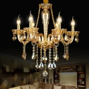 Gold Glass Candle Hanging Lamp Kit Traditional 6 Lights Living Room Chandelier Lighting with Crystal Drop