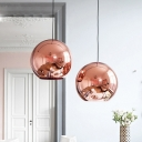 Mirror Glass Globe Hanging Ceiling Light Modern 1 Head Copper Pendant Lamp, 8