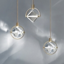 Cubic Clear Glass Pendant Light Fixture Contemporary 1 Head Gold Hanging Ceiling Light
