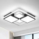 Square/Rectangle Ceiling Flushmount Warm/White Light Contemporary Led Flush Light Fixture in Black and White, 16