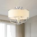 Modern Drum Semi Ceiling Flushmount Light with White Fabric Shade 5 Lights Semi Flush Lamp in Chrome