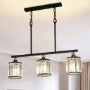 Industrial Cone/Cylinder Hanging Ceiling Light 3 Lights Clear Crystal Linear Chandelier Light in Black