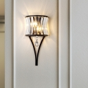 Mini Crystal Wall Mounted Lighting Modern 1 Light Wall Light Sconce in Black with Hanging Ball