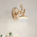 Clear Pipe Crystal Wall Lighting Vintage 1/2 Bulbs Wall Mounted Light Fixture with Curved Arm in Gold Finish