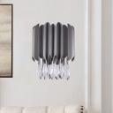 K9 Crystal Teardrop Shade Wall Lighting Fixture Modern 2 Lights Bedroom Wall Mounted Light Fixture in Black